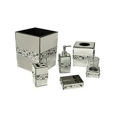 This mirrored bath ensemble is decorated with acrylic beads in a beautiful motif. Unique bath ensemble will enhance and brighten your bathroom and coordinates well with both modern and traditional bathroom decor. Bling Bathroom, Silver Bathroom, Bathroom Sets, Master Bathroom, Bathroom Crafts, Downstairs Bathroom, Tissue Box Covers, Tissue Boxes, Bathroom Assessories