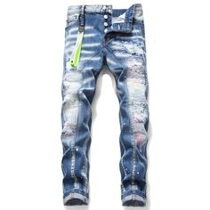 Slim Jeans, Ripped Jeans, Men's Jeans, Blue Pants, Denim Pants, Cropped Pants, Biker Jeans Men, Trousers Mens, Moto Biker