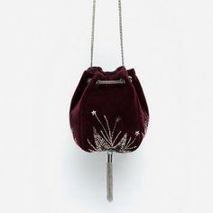 Image 1 of VELVET EVENING BUCKET BAG from Zara