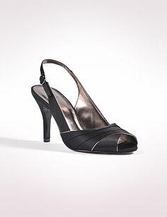 Shoes | Pleated Satin Slingback Peeptoes | dressbarn