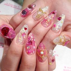 nails - New Ideas Stiletto Nail Art, Cute Acrylic Nails, Acrylic Nail Designs, Cute Nails, Pretty Nails, Pastel Nails, Hair And Nails, My Nails, Asian Nails