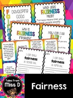 Teach students about the Character Trait of Fairness with this pack.  1) What is Fairness? 2) Why is Fairness Important? 3) How can I be Fair? 4) Fairness sort and discuss 6) 4 Worksheets