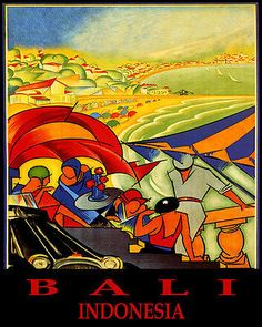 POSTER BALI INDONESIA BEACH PARTY SAILING SUMMER TRAVEL VINTAGE REPRO FREE S/H