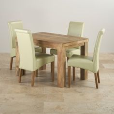 The Mantis Light Natural Solid Mango 4ft by 2ft 6 dining table and four scroll-back cream leather chairs is the ideal dining set for any home seeking comfort and style. With four genuine leather chairs and gorgeous solid mango hardwood, this dining set will stand out in your dining room or kitchen.