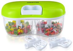 Twin Vegetable Chopper & Blender Double Sided Kitchen Gadget With Interchangeable Dicing & Blending Attachments, Durable BPA free food safe material - Kitchen Gadgets