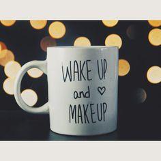 Wake up & Makeup Mug. Makeup Brush Holder. Gifts For by ABlackStar