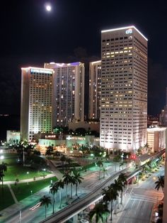 Downtown at night (Miami, Florida) AMAZING the buildings are so colorful and full of life it's fun