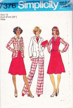 70s Vintage Sewing Pattern Simplicity 7376 OMG is this the pattern from my 4piece, yellow seersucker suit?
