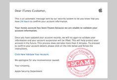 """""""iTunes Account Frozen"""" Phishing Scam Email"""