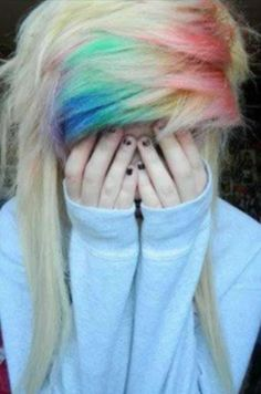 "i've seen this image a million times, but it's still one of my favorite ""rainbow hair"" pictures. xx"