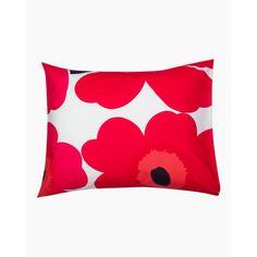 Unikko pillow case 80x80 cm - white, red - All items - Home  - Marimekko.com Poppy Pattern, Marimekko, Flower Patterns, Poppies, Pillow Cases, Floral Prints, Bloom, Colours, Throw Pillows