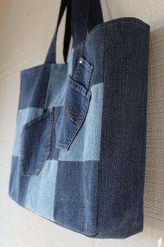 Denim Tote with Two and and a Half Pockets on the Front and Two Pockets Inside: a Stylish and Practical Bag by AllintheJeans on Etsy