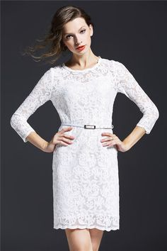 Belted Long Sleeve Dress in White