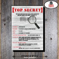 Spy Party  Secet Agent Party  Invitation