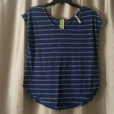 Blue and grey stripe top Blue top with grey stripes. High/low on the bottom. Cap sleeve. Has a neon yellow zipper on the back. Bought from Francesca's Tops