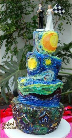 Starry night wedding cake by Wicked Goodies