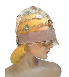 Sheer Horsehair Mesh Braid Cloche w/ Silk Velvet Discs circa 1920s - Dorothea's Closet Vintage