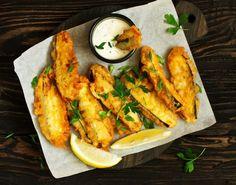 assiettes minceur croustillantes, tempura Tempura, Antipasto, Finger Foods, Chicken Wings, Shrimp, Meat, White Vinegar, Drizzle Cake, Zucchini