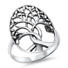 Sterling Silver Life Size Tree of Life Cut Out Ring Sz 5,6 141851123456