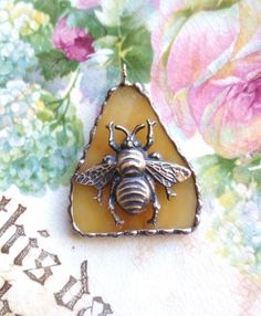 Bee- Vintage Recycled Stained Honey Glass with Queen Honey Bee Skept Pendant Bee Jewelry, Insect Jewelry, Bee Skep, Bee Hives, Buzz Bee, I Love Bees, Bee Art, Bee Theme, Bee Happy