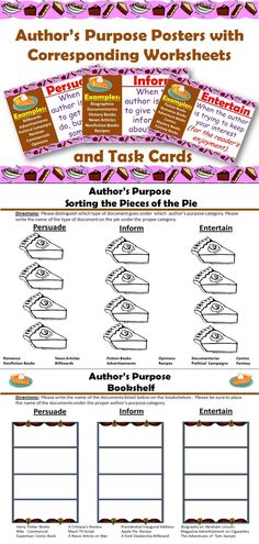 Author's Purpose Posters-  definition and examples for each category.