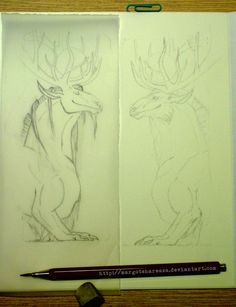WIP drawing - fantasy bookmarks
