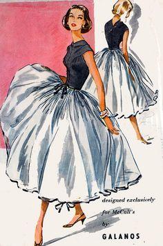 1950s Galanos Full Skirt Evening Dress Pattern