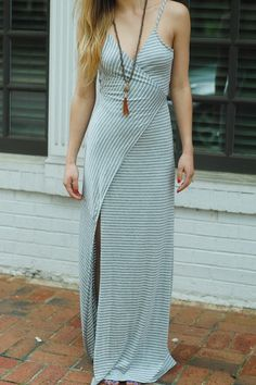 womens striped low back maxi