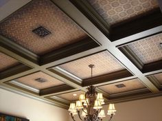 Textured wallpaper or tin in coffered ceiling