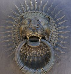 Bronze lion door knocker at the entrance to the House of the Temple, Washington D.C.