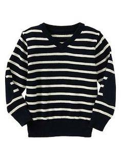 dark v-neck stripe sweater