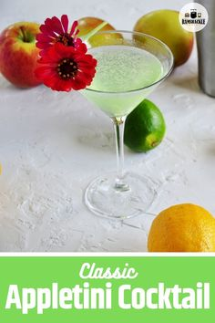 The classic and tasty Appletini. Get this How to Make An Appletini Cocktail guide! It is easy and there is nothing standing between you and this great drink. Classic Cocktails, Fun Drinks, Best Cocktail Recipes, Dinner Recipes, Classic Drink Recipe, Apple Pie Recipes, Best Food Ever, Make A Person