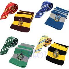 Harry Potter Scarf Tie Gryffindor/Ravenclaw/Slytherin/Hufflepuff Halloween Gift #Scarf