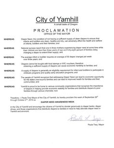 YAMHILL, OR - Mayoral proclamation recognizing Diaper Need Awareness Week (Sep. 26-Oct. 2, 2016) #DiaperNeed Diaperneed.org