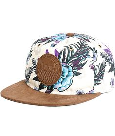 Enjoy some tropical style with a Neff floral paradise print on a tan crown with a contrasting brown bill and brown logo patch at the front.