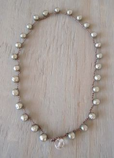 Vintage designer Pearl crochet necklace 'Coco', dimpled faux pearls, rare silver gray, ultra luxe elegant boho, classic & timeless. $135.00, via Etsy.