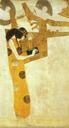 Love, love, love Gustav Klimt! The Muse of Poetry, from the Beethoven Frieze, Vienna. I was lucky enough to see this in person!