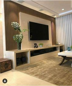 Modern Tv Room, Modern Tv Wall Units, Living Room Modern, Home Living Room, Living Room Decor, Tv Unit Decor, Living Room Cushions, Living Room Tv Unit Designs, Room Partition Designs