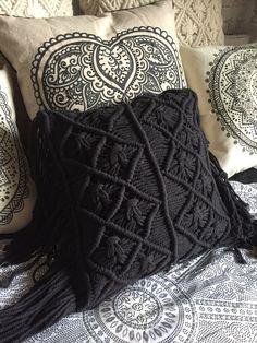 Black Macrame BoHO Cushion Cover 40cm