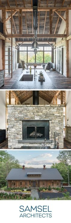 Century-old columns, beams, and diagonal braces give this home an extraordinary, rustic charm. Architecture by Samsel Architects from Asheville, NC. #barnhome #barn #timberframe #rusticdecor #modernrustic