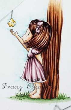 Copic Italy: Twinkle twinkle little star!    Skin: E0000, E000, E00, E11 - R20 for cheeks;  Hair: E00, E13, E15, E25, E29, E49 Dress: RV91, RV93, RV95, RV99  Tree: E00, E13, E15, E18  Star: Y000, Y15, YR38  Background: B0000, BG000, B00