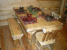 This is a great kitchen/dining table... 6 feet long - can seat 6-8 people comfortably with plenty of elbow room.  Fits 6 chairs OR 4 chairs and 1 log bench on the side.
