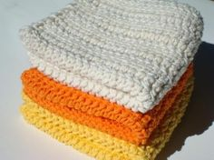 3 Halloween Candy Corn Cotton Washcloths - Orange, Natural White, Yellow Crochet Washcloths by HoookedSoap, $12.00