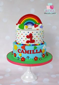 First Birthday Cake | Rainbow | Tiers | Personalized
