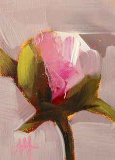 peony bud no. 5 original flower oil painting by moulton