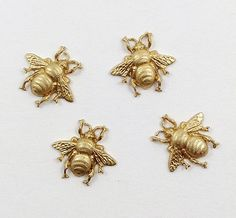 Raw Brass Bee Bee Embellishment Brass Honey by DecadentBrassGlass