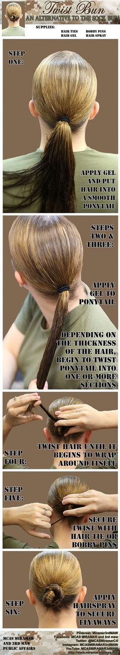 Not a fan of the sock bun? Try this alternative to the traditional military hair… – Bun Hairstyles Twist Ponytail, Twist Bun, Twist Hairstyles, Trendy Hairstyles, Military Hairstyles, Wedding Hairstyles, Updo Hairstyle, Short Hairstyle, Hairdos