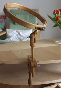 """Vintage Wooden Embroidery Table Clamp Hoop 8.6""""/22cm"""