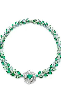 Emerald Jewelry Piaget Rose Passion necklace in white gold, with marquise cut diamonds, marquise cut tourmalines and a central heart-shaped tourmaline Emerald Necklace, Emerald Jewelry, Gems Jewelry, High Jewelry, I Love Jewelry, Gemstone Jewelry, Jewelry Accessories, Jewelry Design, Emerald Rings