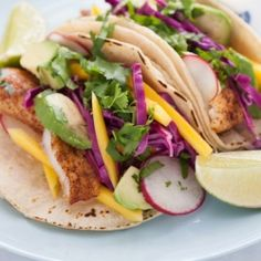 {recipe} Chili-Dusted Fish Tacos with Pickled Red Cabbage, Mango & Avocado